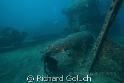 Torpedo laying  down on deck of Thistlegorm. by Richard Goluch 